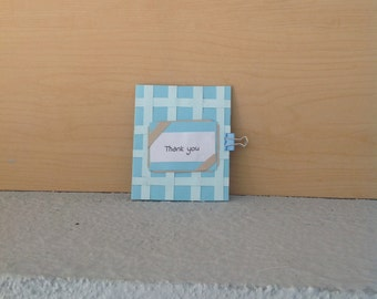 Blue Criss Cross Thank You Card
