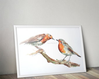 """High quality art print """"Curious Robins"""" Printed from the original watercolour painting onto A4 photo quality paper. Christmas & Nursery Art"""