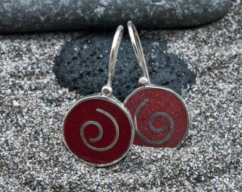 Red Coral Earrings, Round Sterling Silver Small Drop Earrings, Inlaid Silver Spiral Wire, Everyday Cute Earrings, Red Coral Jewelry