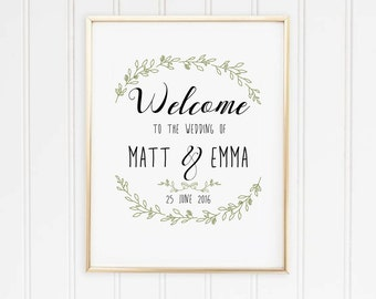 Welcome to our wedding Personalised Print