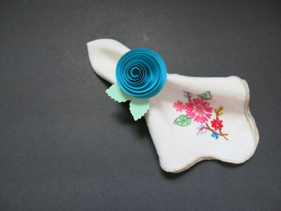 67 Best Images About Napkin Rings Menu Cards On: Set Of 10 Pretty Quilled Teal Rose Napkin Rings Turquoise