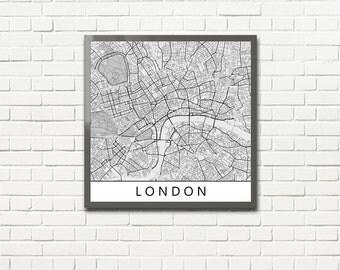 Minimalist Map Print of London, UK (fits square frame)