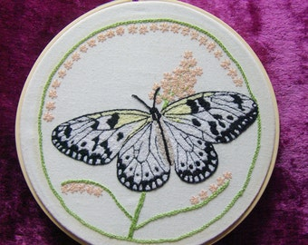 "Embroidery 7 "" Hoop Art - Hand Embroidered Butterfly"