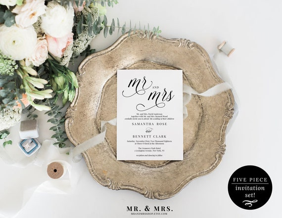 What Should My Wedding Invitation Say: Mr. And Mrs. Wedding Invitation Set Wedding Invitation
