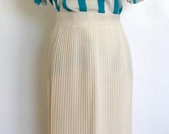 Vintage Ivory Cream Pleated Wool Midi Skirt Size X-Small