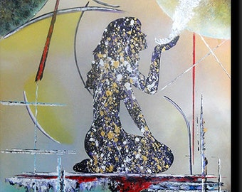 "Contemporary acrylic, painting handmade representing a woman, zen style, ""Rêverie""."