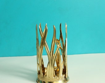 blades of grass brass candle holder . unique vintage candlestick holder, lacquered brass made in India, home decor