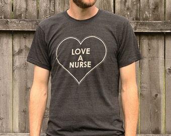 Love a Nurse Heather Black T-shirt