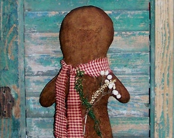 Large Primitive Gingerbread Doll, Christmas Decor, Mantle Decor, Handmade Doll, Stocking Stuffer, Red Homespun Scarf - READY TO SHIP
