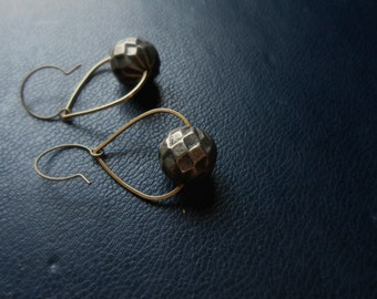 artifact - faceted silver bronze tear drop hoop earrings - vintage antique witchy occult festival fashion jewelry
