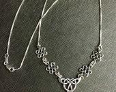 Celtic Irish Victorian  8mm Gemstone Necklace, 16 Inch Box Chain Attached, Celtic Irish Necklace with 8mm Gemstone, Handmade 925, OOAK