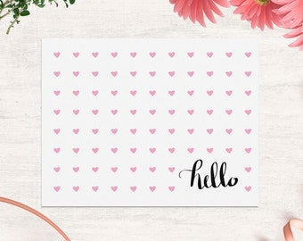 Thank you card with cute pink hearts and hand lettered hello, Printable folded thank you card A2 size