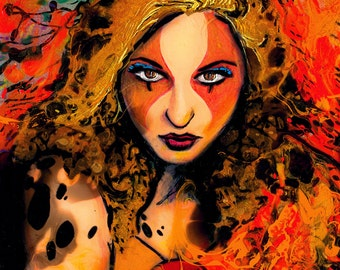 Cheetara Thundercats Art - Female Portrait - Pop Surrealism Mixed Media in resin - by Aja Cheetara 9x12 inches cradled wooden panel
