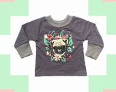 SALE Pug print toddler raglan sweatshirt Supayana