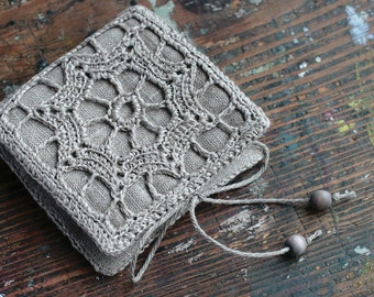 Small Linen Needle Book with Crochet detail