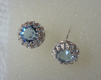 Alexandrite Earrings Fancy Crown set 8mm color change blue to pink zandrite sterling silver, simulated lab stone- studs or threaded posts