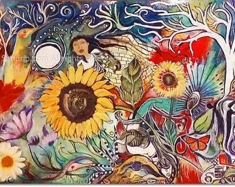 Visual Feast Hummingbird Sunflowers White Tree Rainbow Illustration Imagery from Lullaby Series Art