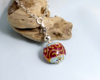 Turquoise and Red Lampwork Pendent Necklace