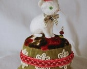 Felted Wool Kitty Pincushion on a vintage cut velvet tuffet