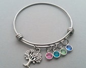 Family Tree Bracelet, Family Tree Charm Bracelet, Tree Of Life Bracelet, Stainless Steel Adjustable Bangle, Genuine Swarovski Birthstone