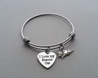 Cat Charm Bracelet, Cat Lover Bangle, Cat Person Bracelet, Cat Rescue, I Love My Rescue Cat, Animal Rescue, Charm Bangle, Stainless Steel