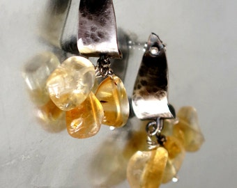 Silver Citrine Earring Studs, Sterling Citrine Dangle Earrings, Birthstone Jewelry