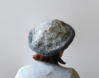 Gradate Gray Wool French Beret, Slouchy Hat, Winter, Womens, Tam O Shanter, Cute, Knit Wool Beret, Hand Knit Beret, Chunky Knit Hat, branda