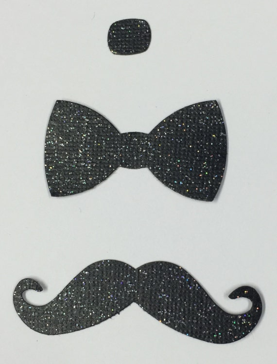 Black Glitter Bow Tie and Mustache Die Cut Embellishment - Men Groom Prom Formal New Years Holiday Wedding Scrapbook Greeting Card Craft Art