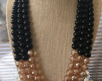 Three Strand Black Beaded and Peach Crystal Necklace