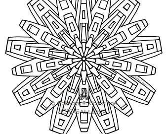Mandala Instant PDF Download Coloring Page, Metropolis