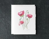 POPPY POSY Card and Envelope, Blank Interior, Post-consumer Recycled Paper, Floral, Flowers