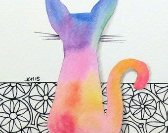 """Tie Dye Cat with Flowers Watercolor and Ink Painting Drawing  5"""" x 7""""  Wall Art"""