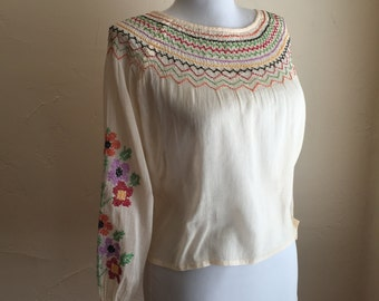 SOLD      -RESERVED 1930s Rainbow Smocking Blouse - Hand Embroidery