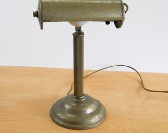 Vintage Industrial Bankers Metal Lamp • Metal Shade Desk Task Light • Shabby Metal Lamp