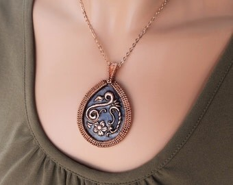 Copper Repousse Flower Wire Wrapped Pendant Necklace OOAK