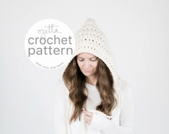 Crochet Pattern / Hooded Winter Pixie Hat With Ties, Chunky Hat / THE MATANUSKA