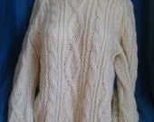 Reserved for Lisa Vintage Hand Knit Sweater, Ecru Irish Knit Raglan Pullover Sweater Size Medium M to Large L, Cable Knit Sweater,Hand Knit