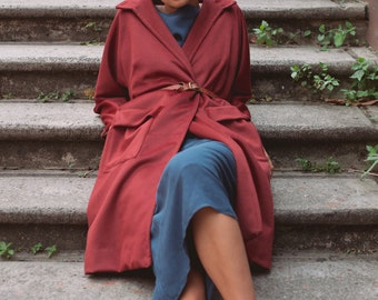 SALE - Aneto Cocoon Coat in Crimson
