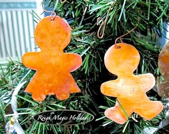 Gingerbread Christmas Ornaments, Copper Cookies Man and Woman, Boy & Girl, Metal Xmas Tree Holiday Decoration, Gift for Couple, Door Hangers