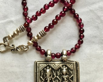 Ganesh and Lakshmi Talisman necklace, Garnet Necklace, Hindu Necklace, Old India Silver