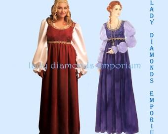 McCalls M5647 Womens Empire Waist Renaissance Gown Medieval Dress Princess Gown size 8 10 12 14 16 Costume Sewing Pattern 5647 Uncut