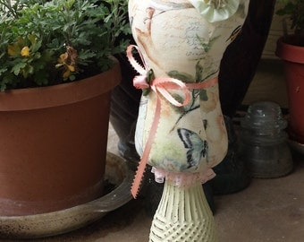 Pin Cushion/ Keep, Lady Statue, birdie print, Lady Stand, Jewelry bust, fabric pin cushion, display mannequin, dressmaker form