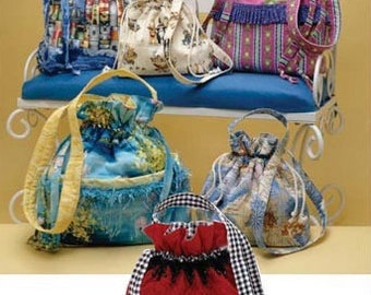 DRAWSTRING BAG PURSE Sewing Pattern - Purses & Bags in 4 Sizes 3531