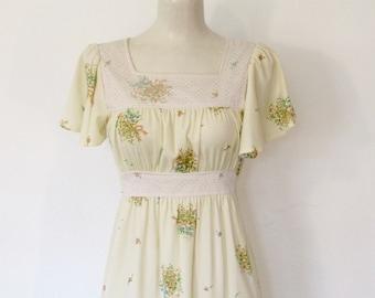 Vintage 1970s Teena Paige Boho / Hippie Ivory & Floral Print Dress / Flutter Sleeve / Empire Waist Festival Dress