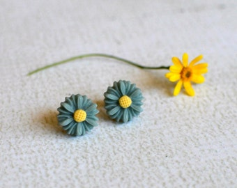 Daisy Earring Posts-  Teal Blue Titanium Earrings- Flower Studs- Contains No Nickle- Great For Sensitive Ears