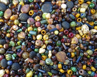 15mm to 3mm Fall Bead Soup Mix Different Shapes and Sizes Czech Glass Beads 40 Grams (AS21)