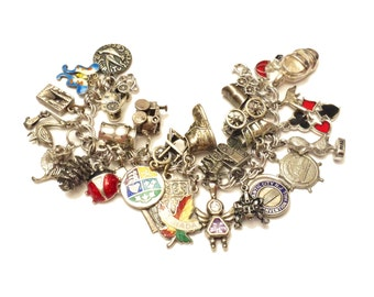 Charm Bracelet, Loaded Sterling Silver Charms, Double Link Sterling Bracelet, Vintage Sterling Charms, Articulated Charms Vintage Jewelry