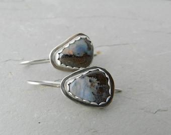 Bezel Set Genuine Boulder Opal Gemstone and Sterling Earrings--October Birthstone