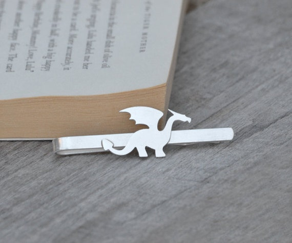 Dragon Tie Clip In Solid Sterling Silver, Wedding Tie Clip, Personlized Tie Clip, Handmade Gift For Man, Handmade In England