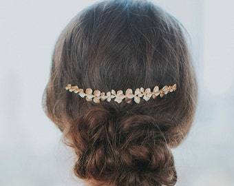 Orchid Hair clip | Gold Bridal Headpiece | Gold Leaf Hair Comb | Flower Wedding Hair Accessories [Petite Gilded Orchid Hair Vine]